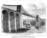 Anglesey,Caernarfon,Menai Suspension Bridge,Bridge - Man Made Structure,Old-fashioned,Antique,Suspension Bridge,Europe,Print,Sea,Historical Ship,Sailing Ship,Engraved Image,Woodcut,Travel Locations,Built Structure,Man Made Structure,Wales,Northern Europe,Mode of Transport,Image Created 19th Century,Architecture,Old,National Landmark,19th Century Style,Local Landmark,Straits,Victorian Style,Menai Straits,Gwynedd,Illustrations And Vector Art,Water,Styles,History,UK,Nautical Vessel,Black And White,Famous Place,The Past,Architecture And Buildings