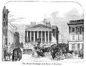 London - England,Royal Exchange,Victorian Style,Victorian Architecture,Bank of England,19th Century Style,Banking,Woodcut,Image Created 19th Century,History,Traffic,Road,Street,Old-fashioned,City,Old,The Past,City of London,Antique,Finance,Europe,Styles,Architecture,Illustrations And Vector Art,National Landmark,Urban Scene,Southeast England,Thoroughfare,UK,Black And White,Print,Architectural Styles,Mode of Transport,Greater London,Urban Road,Capital Cities,Travel Locations,Human Settlement,Architecture And Buildings,Engraved Image,Northern Europe,Famous Place,City Life,England