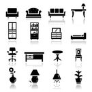Furniture,Symbol,Sofa,Computer Icon,Chair,Icon Set,Bed,Silhouette,Table,Desk,Cabinet,Indoors,Vector,Closet,Black Color,Vase,Seat,Electric Lamp,Wood - Material,Armchair,Set,Curve,Ilustration,Light Bulb,Canape,Decoration,Plant,Library,Drawer,Collection,Isolated,Isolated Objects,Illustrations And Vector Art,Objects/Equipment,Vector Icons,Household Objects/Equipment