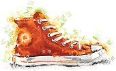 Shoe,Basketball - Sport,Sports Shoe,Canvas Shoe,Teenager,Child,Watercolor Paints,Watercolor Painting,Sport,Art,Retro Revival,Doodle,Shoelace,Old-fashioned,Orange Color,Chaos,Ilustration,Fashion,Clothing,Digitally Generated Image,Funky,Painted Image,Style,Incomplete,Young Adult,Exploding,Vector,Summer,Drawing - Art Product,White Background,Rubber,Sports Symbols/Metaphors,Hobbies,old school,Teens,Fashion,Beauty And Health,Lifestyle,Sports And Fitness