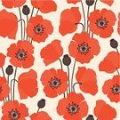 Poppy,Pattern,Seamless,1960s Style,Backgrounds,1940-1980 Retro-Styled Imagery,Wallpaper Pattern,Petal,Nature,Spring,Nature Backgrounds,Nature,Red,Flowers