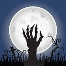 Zombie,Halloween,Human Hand,Horror,Spooky,Cemetery,Moon,Animal Hand,Grave,Fear,Shock,Fingernail,Night,Dark,Tomb,Cross,Cross Shape,Undead,Monster,Full Moon,Grass,Twilight,Ilustration,Moonlight,Buried,Black Color