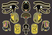 Cleopatra,Egypt,Symbol,Egyptian Culture,Icon Set,Scarab Beetle,Horus,Profile View,Gold,Pharaoh,Ilustration,Vector,Cartoon,Coin,Cartouche,Arts And Entertainment,Arts Symbols,Fan,Multi Colored,Landmarks,Travel Locations,Illustrations And Vector Art,Digitally Generated Image,Vector Icons