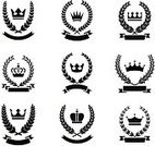 Crown,Coat Of Arms,Insignia,Wreath,Laurel Wreath,Symbol,Vector,Nobility,Banner,Wheat,Computer Icon,Placard,Retro Revival,Garland,Old-fashioned,Medal,Luxury,Silhouette,Black Color,Elegance,Certificate,Scroll Shape,Victorian Style,Medieval,Chivalry,Ornate,White,Decoration,Classic,Isolated,Ilustration,Illustrations And Vector Art,Design,Vector Ornaments,Vector Icons,Blank