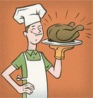 Chef,Retro Revival,Turkey,Chicken,Food,Baking,Ilustration,Old-fashioned,Men,Pride,Tray,Showing,Apron,Smiling,Thanksgiving,Happiness,Pencil Drawing,Cook Hat,Cooking,Food Backgrounds,Holidays And Celebrations,Food And Drink,Drawing - Art Product,Cheerful