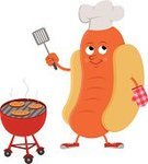 Sausage,Barbecue Grill,Barbecue,Hot Dog,Chef,Fast Food,Cooking,Junk Food/Fast Food,Illustrations And Vector Art,Take Out Food,Unhealthy Eating,Food And Drink