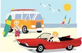 Van - Vehicle,Surfing,Mini Van,Beach,Car,Men,Seagull,People,Vector,Holiday,Greeting,Ilustration,Beaches,Smoking,Travel Locations,Illustrations And Vector Art,Travel,Vacations,Lifestyle,Young Adults,Vector Cartoons,Sun,Lifestyles,Enjoyment,Friendship,Multi Colored,Relaxation