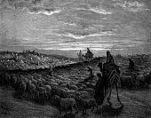 Mt Abraham,Shepherd,Sheep,Bible,Old Testament,Christianity,The Past,Ancient,Religion,Gustave Dore,Engraved Image,Canaan Valley,Spirituality,Etching,Prophet,Painted Image,Journey,Ilustration,Art,Testaments,Herder,Catholicism,Camel,Gilded,Agricultural Occupation,Psalms,Concepts And Ideas,Flock Of Sheep,Large Group Of Animals,Religious Illustration,Monoprint,Image Created 19th Century,People Traveling,Animals And Pets,Religion,Antiquities,People,Herding
