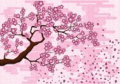 Cherry Tree,Japan,Oriental Cherry Tree,Tree,Blossom,Pink Color,Sakura,Japanese Culture,Image,Branch,Flower,Nature,Cloud - Sky,Petal,Abstract,Design,Springtime,Ilustration,Season,Fall,Nature,Spring,Illustrations And Vector Art,Plant,Vector Backgrounds,Backgrounds,Sky