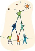 Teamwork,Leadership,Team,Success,Cooperation,Determination,Star Shape,Achievement,Aspirations,Reaching,Winning,People,Improvement,Women,Effort,Manager,Group Of People,Organized Group,Cartoon,Award,Director,Aiming,Men,Incentive,Business Concepts,Business Teams,Business,Vector Cartoons,Illustrations And Vector Art
