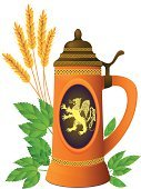 Beer - Alcohol,Millet,Hop,Celtic Culture,Barley,Irish Culture,Animals Hunting,Mug,Corn On The Cob,Vector,Pair,Food And Drink,Antique,Speculative Being,Covering,Clay,Insignia,Ilustration,Griffin,British Culture,Animal,Drink,Nautical Vessel,Isolated,Plant,Cultures,Bronze,Ancient,Pattern,Drinks