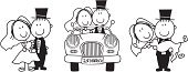 Wedding,Bridegroom,Bride,Cartoon,Couple,Newlywed,Animated Cartoon,Married,Car,storyboard,Sketch,Clip Art,Cute,Vector,Characters,Women,Invitation,Carrying,Love,Men,Ilustration,Cheerful,Veil,Wedding Ceremony,Wife,Smiling,Embracing,Set,Computer Graphic,Husband,Holding,Isolated,Illustrations And Vector Art,Land Vehicle,Celebration,Weddings,Objects with Clipping Paths,Vector Cartoons,White,Holidays And Celebrations,Isolated Objects