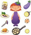 Eggplant,Vegetable,Child,Little Girls,Cooking Pan,Jar,Fork,Cartoon,Ilustration,Isolated,Smiling,Plate,Food And Drink,Fun,Sandwich,Purple,Fruits And Vegetables,Dressing Up,Babies And Children,Freshness,Set,Collection,Plant,Slice,Lifestyle,Illustrations And Vector Art,Raw Food,Ingredient,Cheerful,Vector Cartoons,Single Flower,Vector,Snack,Food,Group of Objects,Green Color,Food And Drink,Vegetarian Food,Cute,Design Element,Healthy Eating