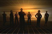 Business,Team,Silhouette,Sunset,Sunrise - Dawn,Back Lit,Group Of People,People,Confidence,Brown,Orange Color,Standing,Ilustration,Men,Women,Vector,Business Person,gradient mesh,Business Teams,People,Illustrations And Vector Art,Business