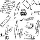 Pen,Doodle,Calculator,Pencil,Writing,Highlighter,Sketch,Ruler,Drawing Compass,Line Art,Eraser,Work Tool,Ink,Scissors,Divider,Writing Instrument,Glue,Binder Clip,Thumbtack,Instrument of Measurement,Outline,Pencil Sharpener,Black And White,Vector,White Background,Cutting Tools,Writing Materials