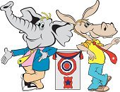 Democratic Party,Republican Party,Elephant,Donkey,Mule,Animal,Humor,Mammal,Art Product,Political Rally,Animals And Pets,Government,Vector Cartoons,Cartoon,Characters,Industry,Candidate,Illustrations And Vector Art,Marketing,Election,Ilustration,Voting
