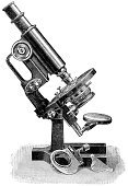 Old-fashioned,Microscope,Research,Obsolete,Old,Engraving,Antique,Engraved Image,Laboratory,Innovation,Science,Equipment,Expertise,Biology,Healthcare And Medicine,Medicine,Single Object,Technology,Scientific Experiment,Discovery,Industry,Research,Equipment,Medicine And Science,Professional Equipment,Lens - Optical Instrument,Education,Laboratory Equipment,Education,Optical Instrument