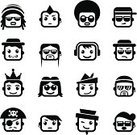 Avatar,Symbol,Human Face,Computer Icon,Human Head,Icon Set,Characters,People,Cartoon,Hairstyle,Cute,Fun,Men,Ilustration,Vector,Animated Cartoon,Emotion,Eyeglasses,Black Color,Smiling,Facial Expression,Vector Icons,People,Vector Cartoons,Illustrations And Vector Art