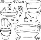 Toilet,Bathtub,Domestic Bathroom,Sink,Doodle,Shower,Bucket,Symbol,Sketch,Toothbrush,Toilet Paper,Vector,Hygiene,Wash Bowl,Hairbrush,sanitary,Line Art,Outline,Faucet,Handle,Toilet Brush,Black And White,Toothpaste,Container,Toy,White Background,Sanitary Ware,Comb,Ornamental Ducks,Water Pump,Barrel