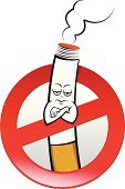 No Smoking Sign,Smoking,Smoke - Physical Structure,Cigarette,Sign,Addiction,Humor,Warning Sign,Forbidden,Arms Crossed,Characters,Fun,Concepts And Ideas,Illustrations And Vector Art,Isolated Objects,Vector Cartoons,Frustration,Information Sign,Mascot,Ilustration,Impatient,Vector