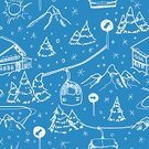 Mountain,Ski Lift,Trail,European Alps,Seamless,Elevator,Backgrounds,Pattern,Snow,Snowflake,Thoroughfare,Sign,Sports And Fitness,Travel Locations,Extreme Sports,Holidays,House,Tree,Color Image,Fun,Recreational Pursuit,Vector