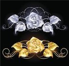 Rose - Flower,Gold,Silver - Metal,Black Background,Jewelry,Leaf,Pattern,Precious Gem,Decoration,Vector,Romance,Posing,Luxury,Color Gradient,Nature,Beauty And Health,Ilustration,Metal,Elegance,Stem,Computer Graphic,Two Objects,Petal,Shiny,Flowers,Blooming,Illustrations And Vector Art,Blossom