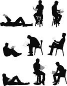Silhouette,Reading,People,Sitting,Men,Book,Sitting On Floor,Lying Down,One Person,Chair,Adult,Vector,Black And White,Studying,Leaning,Eyeglasses,Outline,White Background,Stool,Clip Art,Digitally Generated Image,Education,Side View,Expertise,Learning,Casual Clothing,Ilustration,One Man Only,Concentration,Black Color,Hobbies,Front View,Young Adult,Isolated,Lifestyles,Multiple Image,Isolated On White,Full Length,Holding,Studio Shot,Computer Graphic,Vector Graphics,Male,Lying On Back,Cut Out