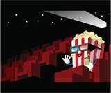 Movie Theater,Movie,Film Industry,Popcorn,Poster,Cartoon,Seat,Humor,Drink,Marketing,Characters,Promotion,Cinema,Arts And Entertainment,Illustrations And Vector Art,Concepts And Ideas,3d Movie