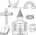 Doodle,Church,Dove - Bird,Rainbow,Cross,Bible,Cross Shape,Christianity,Sketch,Chapel,Black And White,Religion,Line Art,Door,Wood - Material,Vector,Symbol,Spirituality,Angel,Crown,Window,Catholicism,Pigeon,Book,Icon Set,Bird,White Background,Bell,Symbols Of Peace,Outline,Cloud - Sky,Clip Art,Thorn,Peace On Earth,Thorn Bush