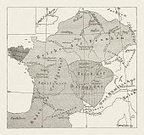 France,Woodcut,Map,Engraved Image,Ancient History,Europe,Circa 6th Century,Cartography,French Culture,Topography,Etching,Oriental Style Woodblock Art,Topographic Map