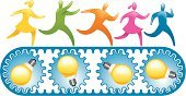 Running,Ideas,Conveyor Belt,People,Light Bulb,Symbol,Business,Gear,Teamwork,Treadmill,Efficiency,Vector,Diagram,Concepts,In A Row,Multi Colored,Stick Figure,Color Image,Information Symbol,Ilustration,Design Element,Concepts And Ideas,Illustrations And Vector Art,Simplicity,Technology,Success,Teamwork,Vector Icons