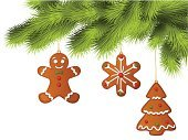 Gingerbread Cookie,Gingerbread Cake,Branch,Christmas,Gingerbread Man,Pine,Christmas Tree,Fir Tree,Christmas Decoration,Tree,Christmas Ornament,Decoration,Pine Tree,Green Color,Celebration,Holidays And Celebrations,Arts And Entertainment,Christmas,Red,Star Shape,Illustrations And Vector Art
