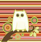 Owl,Striped,Psychedelic,Ilustration,Vector,Snowy Owl,Pattern,White,Color Image,Bird,Animal,Branch,Circle,Photography,Square,Sitting,Plants,Nature,Illustrations And Vector Art,Animals And Pets,Perching