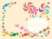 Candy,Lollipop,Frame,Swirl,Childhood,Banner,Birthday,Peppermint,Party - Social Event,Holiday,Placard,Ilustration,Food,Caramel,Striped,Gum Drop,Desert,Variation,Vector,Design Element,Spiral,Decoration,Collection,Sweet Food,Ribbon,Copy Space,Symbol,Menu,Horizontal