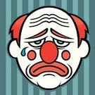 Clown,Sadness,Depression - Sadness,Crying,Circus,Cartoon,Irony,Theatre,Vector Cartoons,People,Arts And Entertainment,Kitsch,Illustrations And Vector Art,Dyed Red Hair