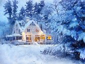 Christmas,Winter,House,Snow,Cottage,Painting,Landscape,Paintings,Village,Fairy Tale,Painted Image,Forest,Woodland,Landscaped,Wood - Material,Ilustration,Nature,Cold - Termperature,No People,Pine,Outdoors,Rural Scene,Rustic,Loneliness,Holidays And Celebrations,White,Christmas,December,Nature,Frost,Solitude,Winter,Pine Tree