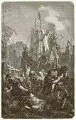 Circa 5th Century,Africa,Etching,Sailing Ship,Vandalism,Aggression,Harassment,Military Ship,People,Stealing,Passenger Ship,Nautical Vessel,Vertical,Afrika Afrika,Europe,Thief,History,Engraved Image,Ambush,Warrior,Military Invasion,Shipping,Migrating,Men,Ethnocultural History,Woodcut,Ship,Circa 6th Century,Ancient History,Schiff Nutrition Group, Inc.