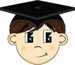 College Student,Graduation,Human Head,Learning,Student,Education,Cartoon,Isolated,Wisdom,Cute,Ilustration,Vector,Teens,Lifestyle,Intelligence,University,People,Vector Cartoons,Illustrations And Vector Art,Brown Hair,Fun,Hat,Mortar Board