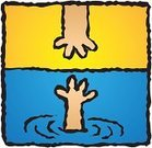 Drowning,Rescue,Human Hand,Water,Vector,Ilustration