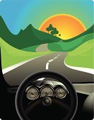 Dashboard,Car,Driving,Windshield,Drive,Winding Road,Road,Looking At View,Country Road,Looking Through Window,Scenics,Long,Landscape,Wheel,Sun,Green Color,Ilustration,Curve,S-shape,Stage Set,Rolling Landscape,Springtime,Idyllic,Swerving,Color Image,Orange Color,Multi Colored,Colors,Non-Urban Scene,Road Marking,Blue,Domestic Car,Design,Style,Roadside,on road