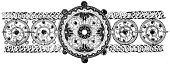 Pattern,Ornate,Old-fashioned,Islam,Engraved Image,Retro Revival,Floral Pattern,Decoration,Ilustration,Design,Antique,Repetition,Old,Carving - Craft Product,Arts And Entertainment,Image Created 19th Century,Black And White,Objects/Equipment,Design Element,Isolated On White,European Culture,Single Object,Line Art,Obsolete