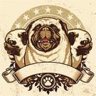 Dog,Pug,Coat Of Arms,Banner,Dirty,Old-fashioned,Vector,Laurel Wreath,Paw Print,Profile View,Star Shape,Textured,Grunge,Three Animals,Textured Effect,Design Element,Ilustration,Front View,Dogs,Animals And Pets,Illustrations And Vector Art
