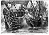 Pirate,Battle,Navy,Engraved Image,Sailing Ship,Brigantine,Conflict,Military Ship,Sea,Tall Ship,Ilustration,Sailor,Nautical Vessel,Boarding,The Past,Crew,Old,History,Image Created 17th Century,Caribbean Sea,Galley,Fighting,Obsolete,Physical Activity,Antique,Mode of Transport,Adventure,Water,Warship,Styles,People,Military,Old-fashioned,Historical War Event,Historical Ship,Transportation,Armed Forces,Concepts And Ideas