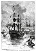Sailing Ship,Old,Nautical Vessel,Harbor,Engraved Image,Portsmouth - England,England,Obsolete,British Culture,Hampshire - England,Tall Ship,Commercial Dock,English Culture,Old-fashioned,Ilustration,Navy,Antique,The Past,19th Century Style,Scientific Exploration,British Military,Adventure,Victorian Style,Military,Black And White,Mode of Transport,Illustrations And Vector Art,Travel Locations,Transportation,Exploration,Southeast England,Europe,Historical Ship,Cultures,Image Created 19th Century,European Culture,UK,Royal Navy,History,Transportation,Journey,Styles,Old Port