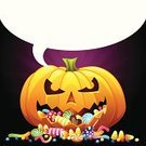 Halloween,Candy,Trick Or Treat,Cheerful,Pumpkin,Happiness,Speech Bubble,Smiling,Holidays And Celebrations,Blank,Halloween,Holiday Backgrounds,Holiday,Holiday Symbols,Vector,Copy Space,Celebration,Ilustration