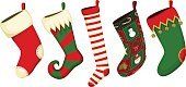Christmas,Christmas Stocking,Sock,Christmas Decoration,Vector,Red,Holiday,Decoration,Green Color,Striped,Ilustration,Patchwork,Holiday Symbols,Christmas,Holidays And Celebrations,Illustrations And Vector Art
