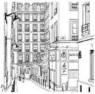 Paris - France,Cafe,Street,City,Drawing - Art Product,Coffee - Drink,Built Structure,Ilustration,Drawing - Activity,Europe,Pencil Drawing,Tree,People,Vector,Walking,Cultures,Architecture And Buildings,Travel Locations,Illustrations And Vector Art,Weather