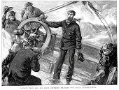 Sailor,Sailing Ship,Nautical Vessel,Crew,Storm,Sea,Boat Captain,Navy,Men,Wave,Old-fashioned,Victorian Style,Engraved Image,Obsolete,Old,Driving,Historical Ship,Wheel,Image Created 19th Century,19th Century Style,The Past,Ilustration,Water,Helm,Officer,Male,Armed Forces,People,Transportation,Natural Phenomenon,Vessel Part,Antique,Styles,Royal Navy,History,Mode of Transport,British Military,Military,Travel Locations,People,Sailing,Natural Disaster,Rank