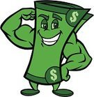 Currency,Human Muscle,Muscular Build,Dollar Sign,Paper Currency,Mascot,Cartoon,Wealth,Money Roll,Fist,Debt,Savings,Business,Finance,Smiling,Currency Symbol,Vector,Business Symbols/Metaphors,Vector Cartoons,Business Concepts,Bank Account,Green Color,Business,Illustrations And Vector Art