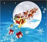 Santa Claus,Sleigh,Reindeer,Christmas,Flying,Fantasy,Non-Urban Scene,Snow,Sky,Delivering,Vector,Fun,Star - Space,Gift,Night,Winter,Art,Giving,Humor,Moon,Illustrations And Vector Art,Wrapped,Holiday,Concepts,Computer Graphic,Cartoon,Moonlight,Holidays And Celebrations,Red,Ilustration,Snowflake,White,Christmas,Design,Cultures,Blue,Drawing - Art Product